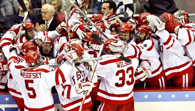 The Boston University men's hockey team celebrates a goal in the 2009 NCAA championship game. The team won the game and the title, but a party after the win has sparked scrutiny of the team and its culture. (AP)