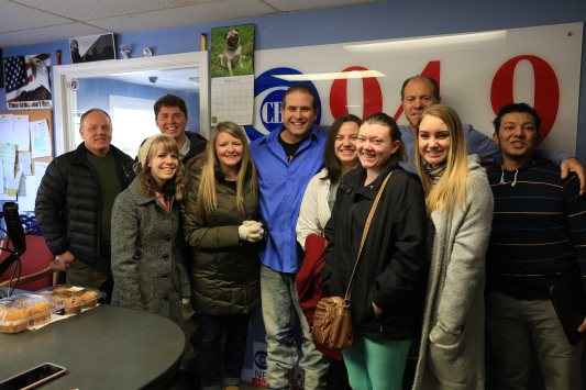 SVU students with Lee Elci at CBS Radio. (Photo by Clancy Benedict)