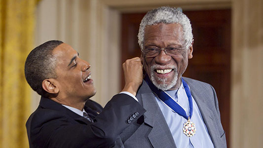 Bill Russell with President Obama