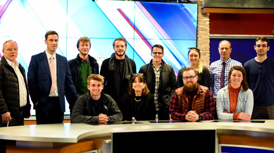 SVU students with Carolyn Lumsden (front center) and Pete McGilvery (back left) at Fox 61. Photo by Erik Flores